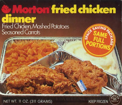 TV dinners in metal containers.