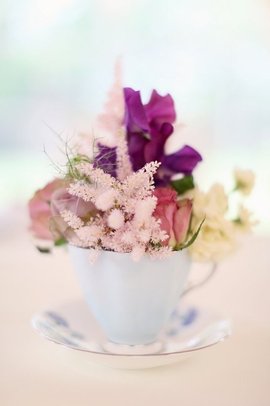 a teacup full of flowers  Photography by craigsandersphoto..., Floral Design by littlebotanica.com