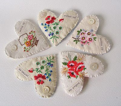 sweet vintage embroidery hearts
