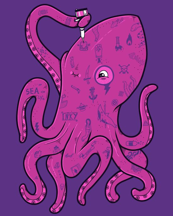 cool funny graphic design chicquero inked octopus