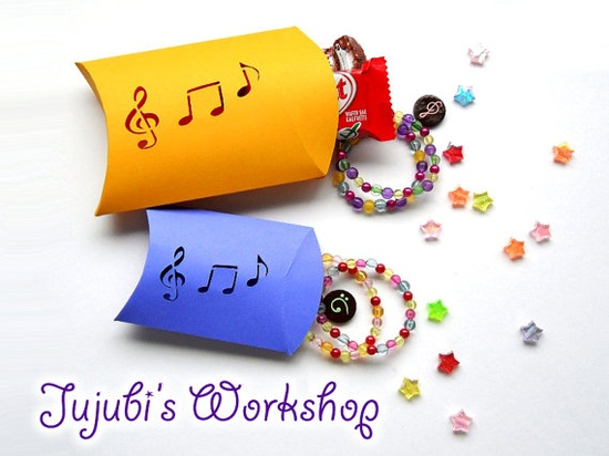 Handmade Music Notes Pillow Gift Boxes  Set of by JujubisWorkshop, $6.00