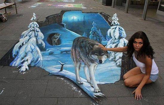 sidewalk 3d art