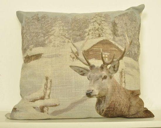 Deer Christmas decor Pillow by NatureWhisper on Etsy, $24.00