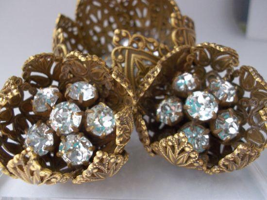 Joseff of Hollywood Rhinestone Brooch & Earrings Set/ Joseff JEWELER of the STARS CHiC Jewelry/ 1940's Golden Age of Jewelry #Rare #Vintage