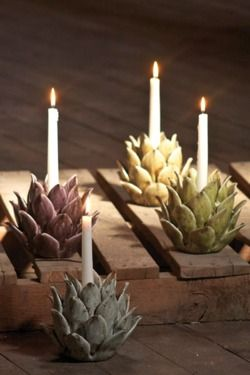 Artichoke hearts as candle holders ... hmmmmmmm, interesting!
