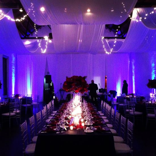 Elegant romantic wedding reception.