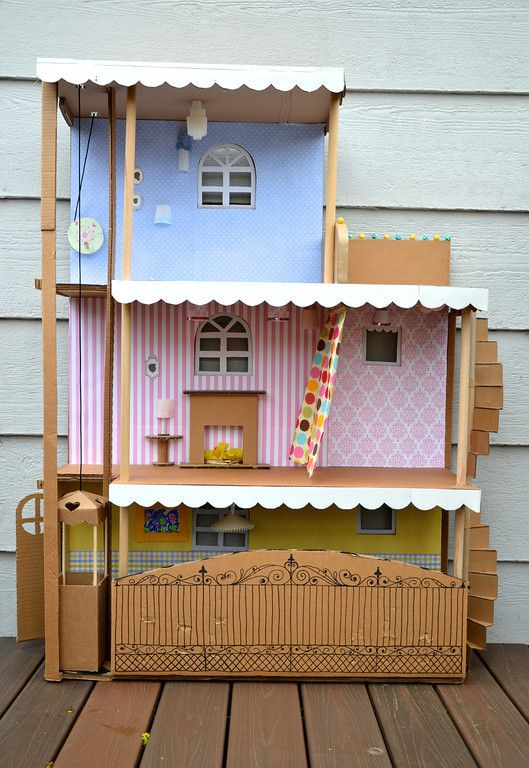 Love the level of detail in this Barbie House!  The creator definitely put a lot of thought into it!  A working elevator, spiral stair case, a sliding door from the bed to the balcony, a functioning curtain, a gate that unlocks, AND all the lights work!!!