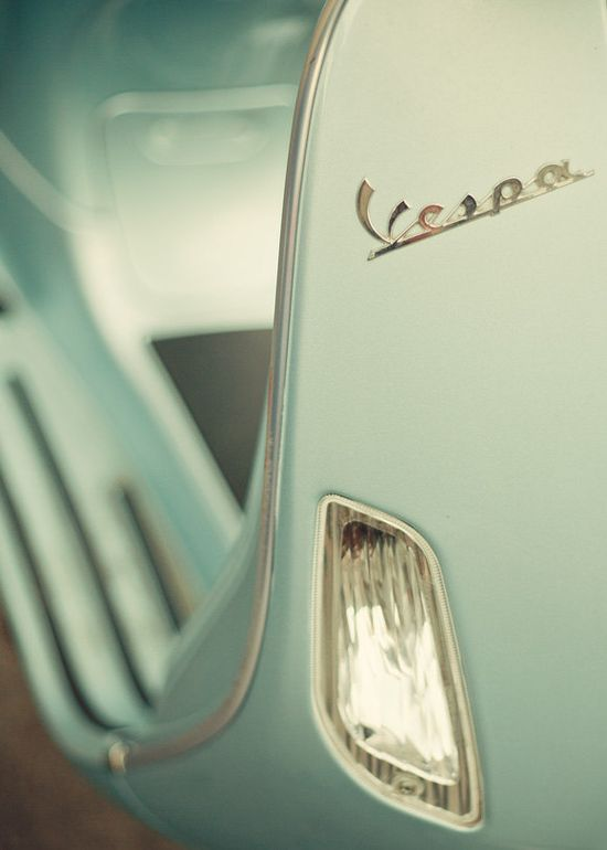 mint green vespa