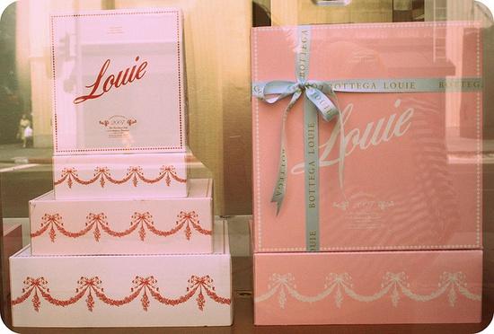 cute pink boxes...Bottega Louie