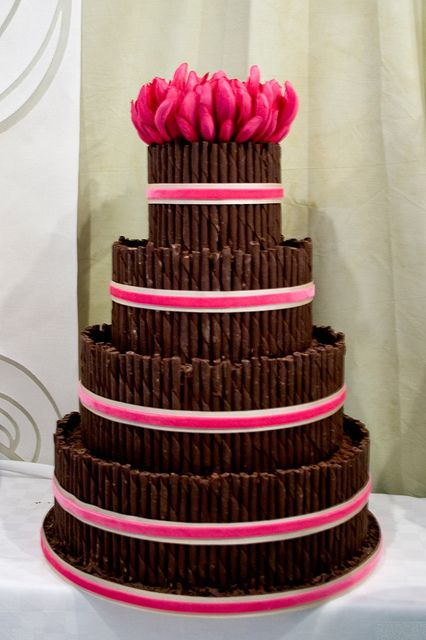 Chocolate Curl Wedding cake by Sucre Coeur - Eats & Ink, via Flickr