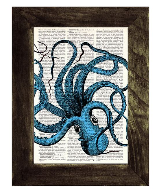 Turquoise Octopus Print on Vintage Dictionary Book