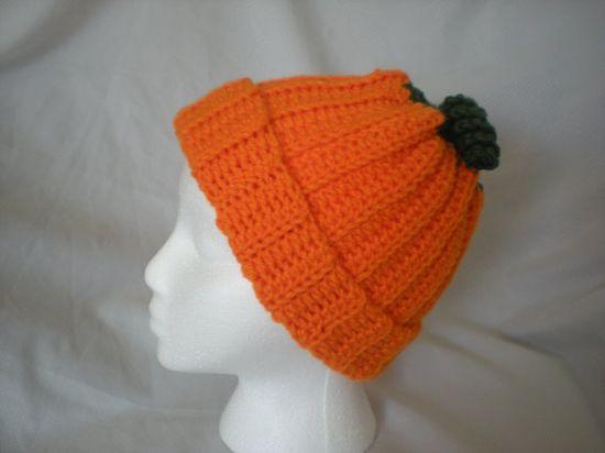 Pumpkin Hat  Orange  Crochet by ShelleysCrochetOle on Etsy, $16.00