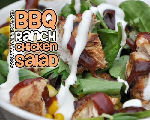 BBQ Ranch Chicken Salad ~ Super easy way to use up leftover BBQ Chicken. Great for individual lunch or even a large get together if you double.