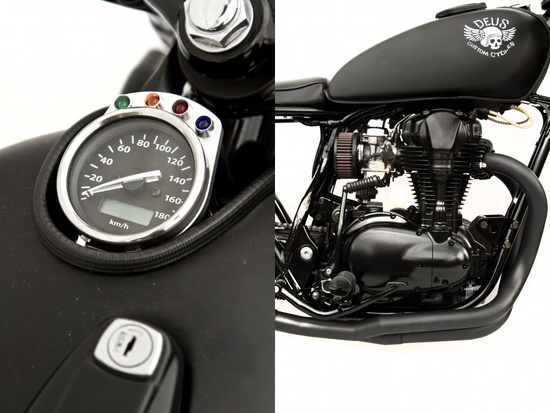 Le Gicleur Noire Kawasaki W650 redefined by Deus ~ Return of the Cafe Racers