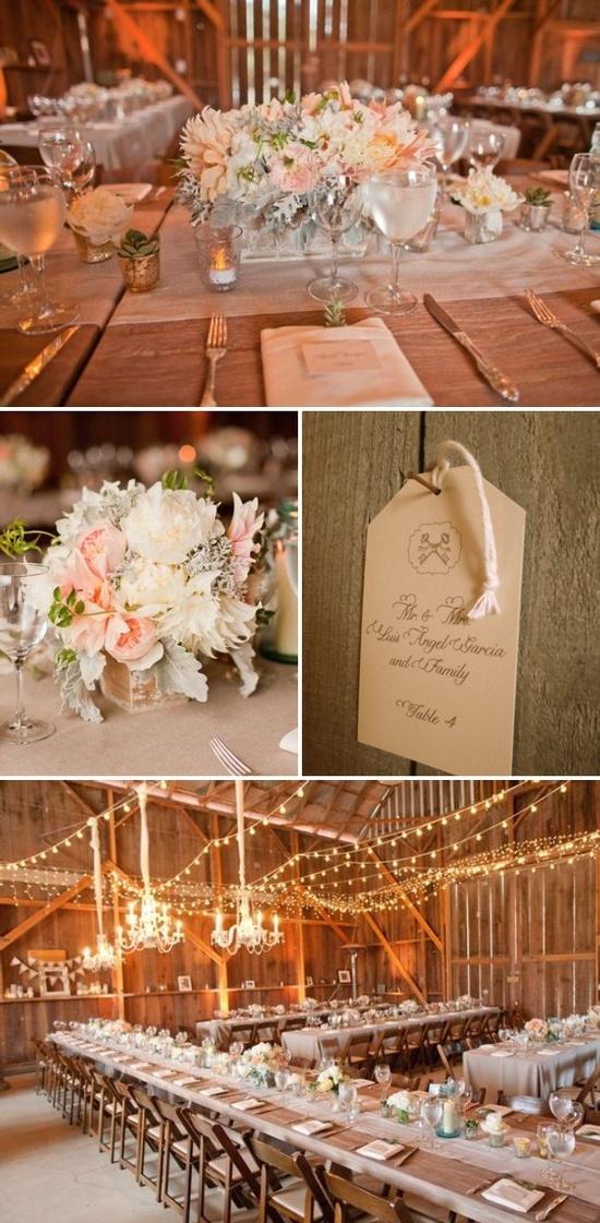 Beautiful barn wedding reception.