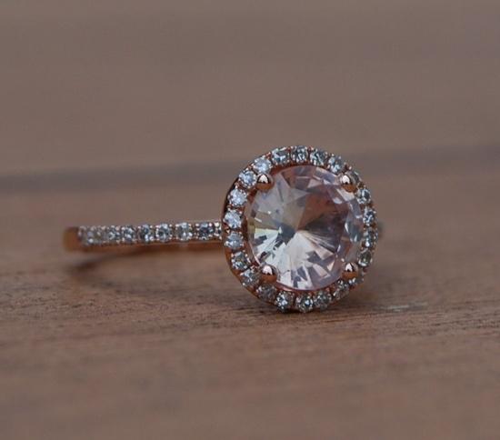 1.36ct round cut peach champagne sapphire ring
