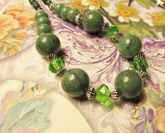 Vibrant Green Jade and Green Crystal Necklace  by RomanticThoughts, $18.00