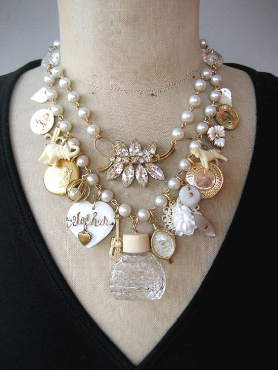 #Steampunk Jewelry #Statement  #vintage Necklace #Wedding by rebecca3030.etsy.com