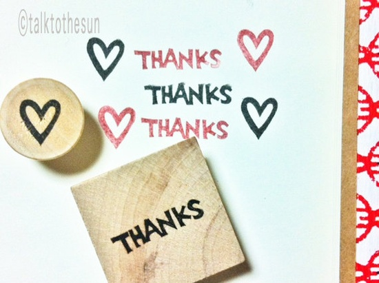thanks hand carved rubber stamp   by talktothesun