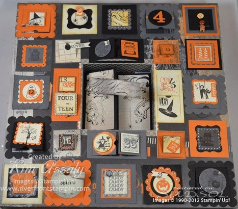 "Halloween Advent using Stampin' Up ""Spooky Bingo Bits"" stamp set and ""Peek-a-Boo Frames"" Bigz die for the Big Shot"