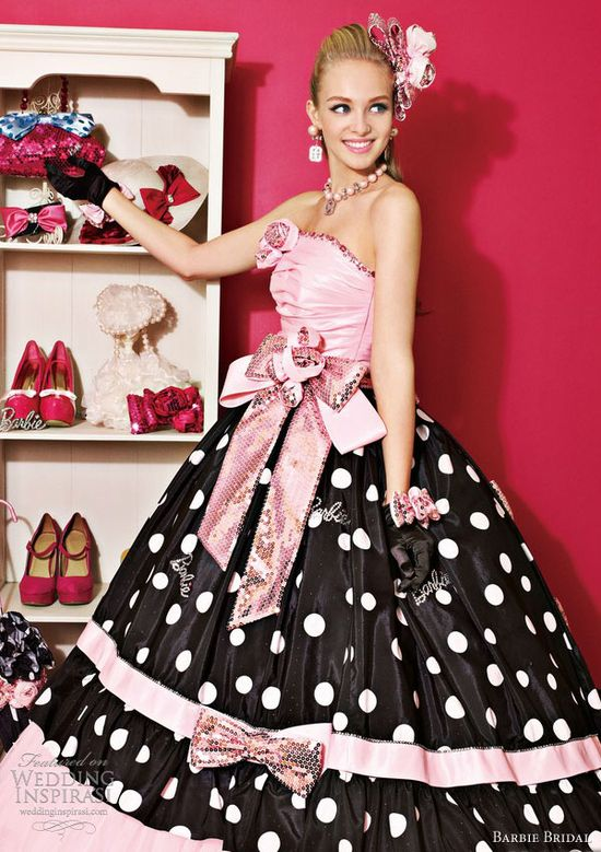barbie bridal 2013 black pink ball gown 0102