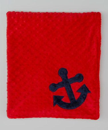 Take a look at this Red & White Anchor Minky Stroller Blanket by Lolly Gags on #zulily today!