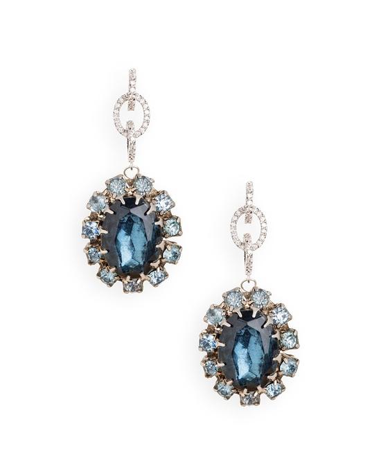 Silver Sappphire, Tanzanite & Diamond Earrings -  #jewelry #womens #aquamarine #ladies #girls #cocktail #evening #fashion #birthstone #March #April #September #beauty #stones