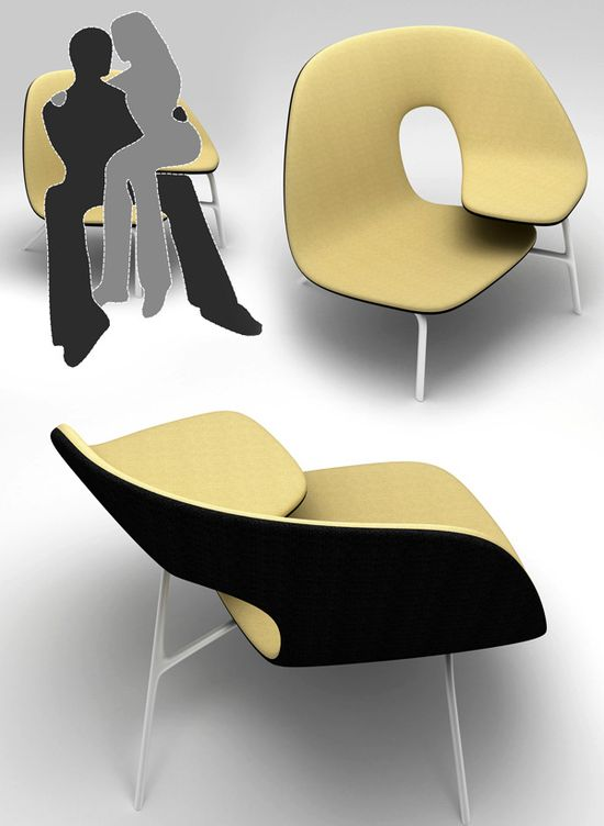 Hug Chair for clingy lovers designed by Ilian Milinov and Yanko Design.