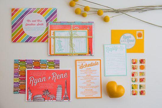 Colorful wedding invitations.