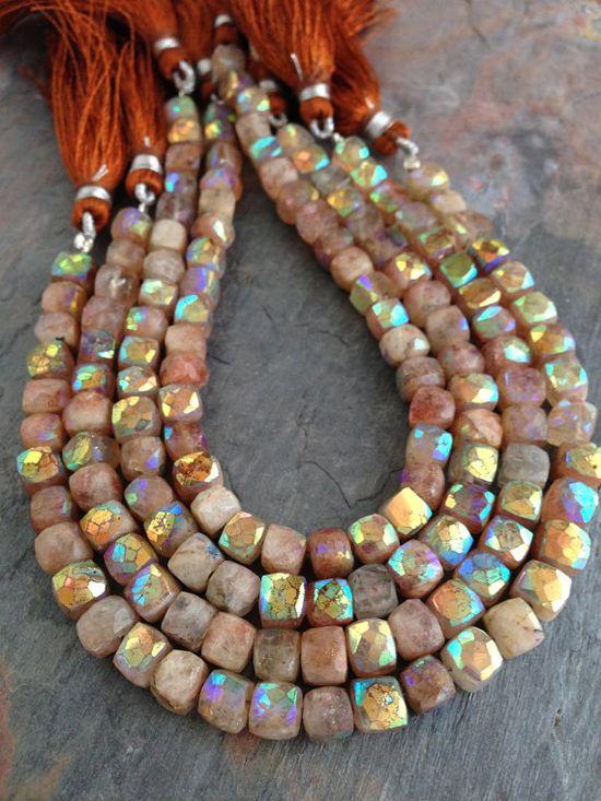 ? Mystic Sunstone AB Designer Gemstone Square Cube Beads, 5-6mm. 1/2 strand. Rust. Orange. Sunshine.
