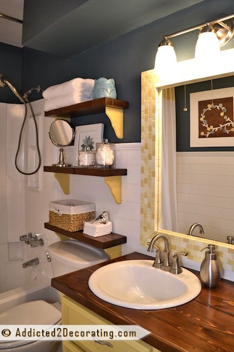 Small bathroom before and after - small bathroom ideas - shelves made from scrap wood