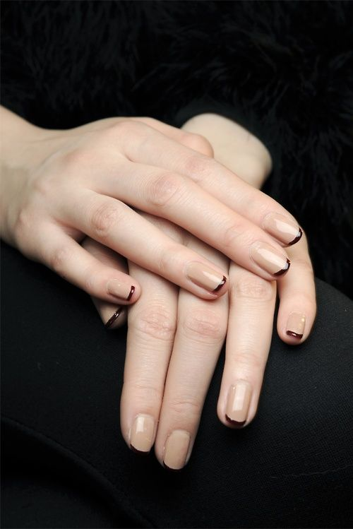 nude and oxblood french manicure