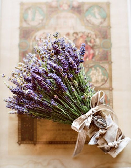 lavender bouquet with ribbon and metal charm
