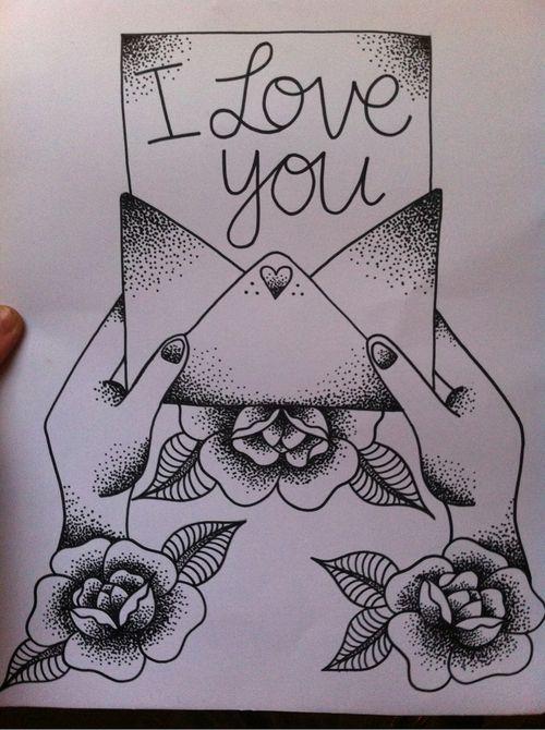 cute tattoo design. love letter