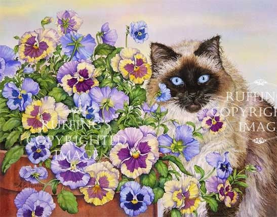 Ragdoll Cat and Pansies Giclee Fine Art Print, Floral, Lavender, Blue, Yellow, Signed A E Ruffing, on 8.5 x 11 inch art paper via Etsy