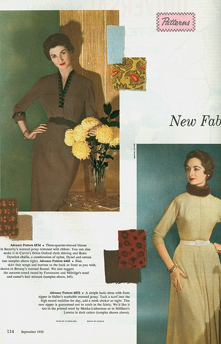 Simply tailored, smartly elegant 1950s dresses and their respective fabric choices. #vintage #fashion #1950s #dress #fabric