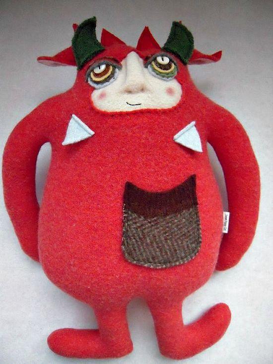 Stuffed Animal Monster Orange Wool Sweater by sweetpoppycat, $50.00