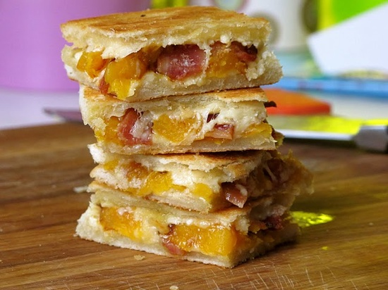 grilled cheese with butternut squash, gouda, and bacon