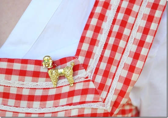 Sporting a cute 1950s red and white gingham dress (and darling little poodle brooch) while visiting Mission Creek Park in Kelowna. #whatIwore #vintage #fashion #style #hair #1950s #gingham #polka_dots #dress