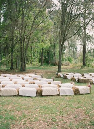 hay bale seating for ceremony