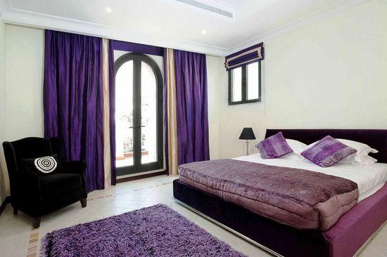 Black White and Purple Bedroom Design