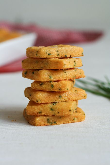 Savory Cheddar and Chive Shortbread.