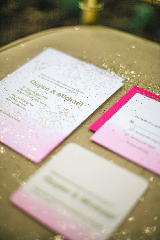 pink and gold wedding invite