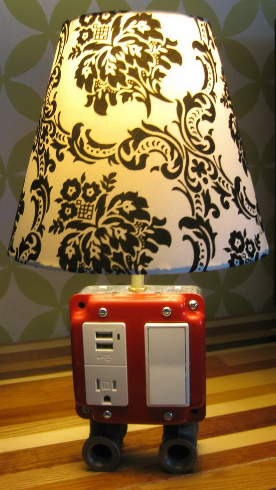 DIY project that only takes a few hours and will run you under 50 bucks. The combo Lamp, electrical outlet and USB charger. @Darrell Cassell Cassell Cassell Swoap , feeling crafty?