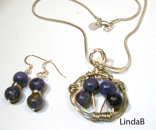 Blue Sodalite Wire Wrapped Necklace and Earrings Set by lindab142, $40.00