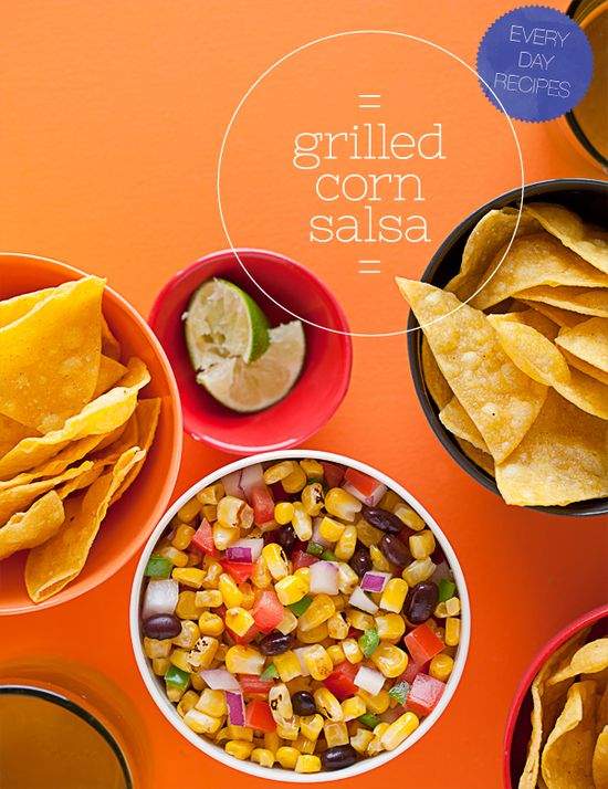 Grilled Corn Salsa. Super easy salsa recipe made with sweet corn, grilled and tossed together with diced red onions, jalapenos, black beans, and fresh lime juice.