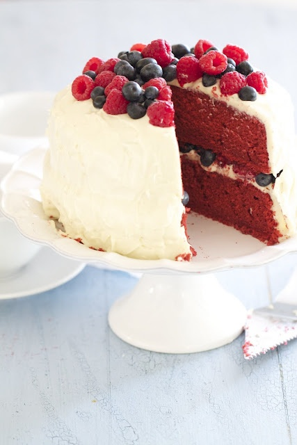 Red Velvet Cake with Raspberries and Blueberries