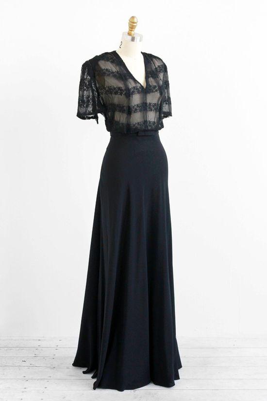 vintage 1930s dress / 30s dress / Black Bias Cut Floor Length Lace Evening Gown