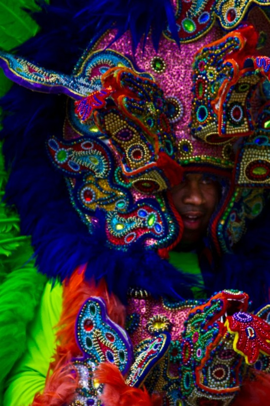 Today is Super Sunday - the day that all the  Mardi Gras Indians parade together. Photo by Roy Guste.