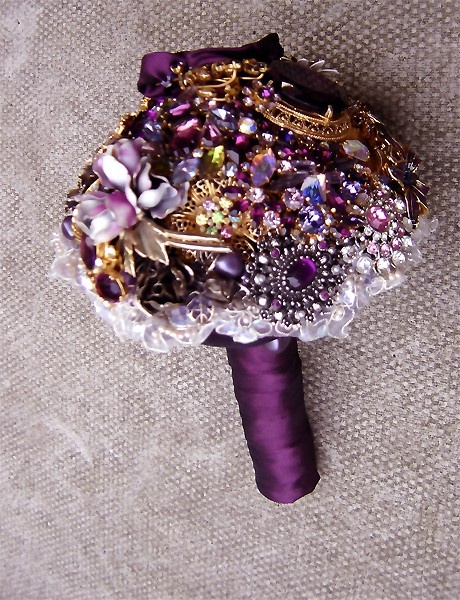 purple brooch bouquet